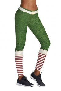 Green Costume Christmas Leggings
