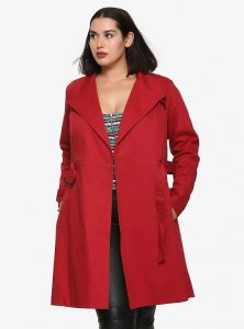 Long Plus Size Red Trench Coat