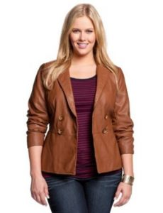 Plus Size Brown Leather Jacket