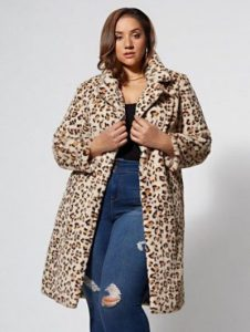 Plus Size Leopard Print Fur Coat