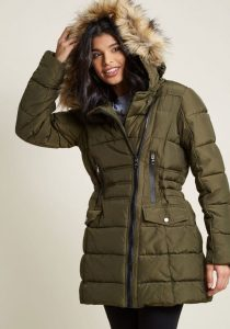 Plus Size Puffer Coat With Fur Hood