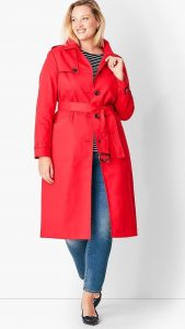 Plus Size Red Trench Coat