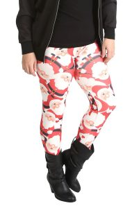 Plus Size Santa Print Leggings