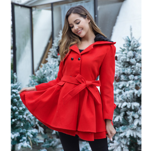 Plus Size Trench Coat Red