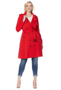 Plus Size Women Trench Coat Red