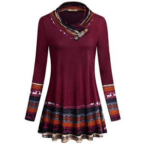 Red Christmas Printed Short Tunic