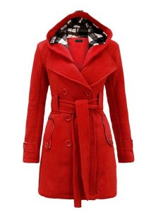 Red Hooded Trench Coat
