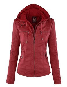 Red Leather Jacket Hood