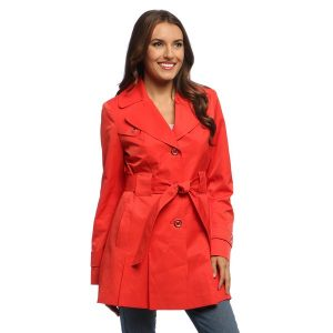 Red Plus Size Trench Coat