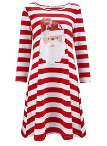 Striped Santa Print Christmas Tunic