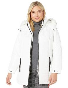 White Puffer Coat with Hood