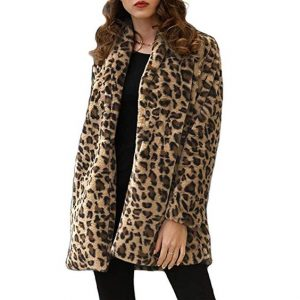 Women's Long Sleeve Leopard Coat