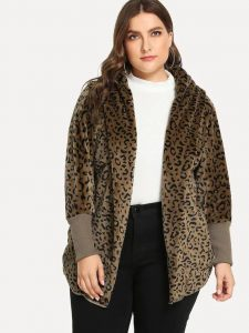 Women's Plus Size Leopard Coat