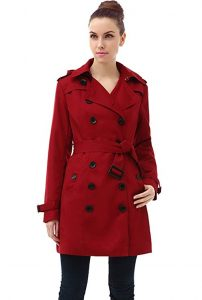 Women's Plus Size Red Trench Coat