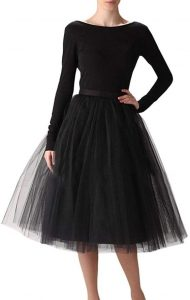 Knee Length Black Tulle Skirt
