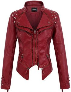 Red Bikers Jacket Plus Size