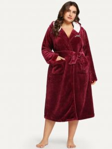 Plus Size Hooded Robe