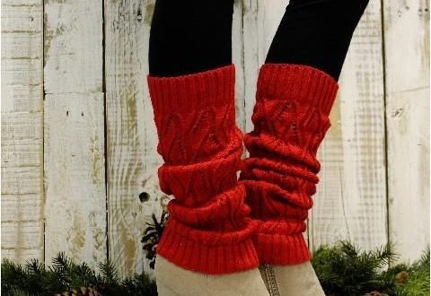 Red Plus Size Leg Warmers