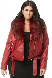 Fur Leather Jacket In Red