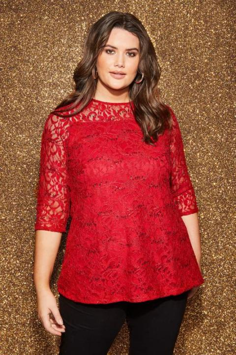 Plus Size Red Dressy Tops