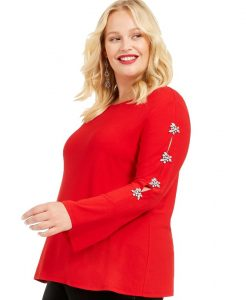 Plus Size Red Dressy Tunic