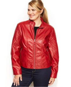 Plus Size Red Leather Jacket
