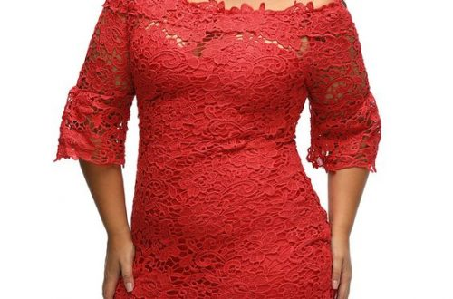 Red Plus Size Lace Dress