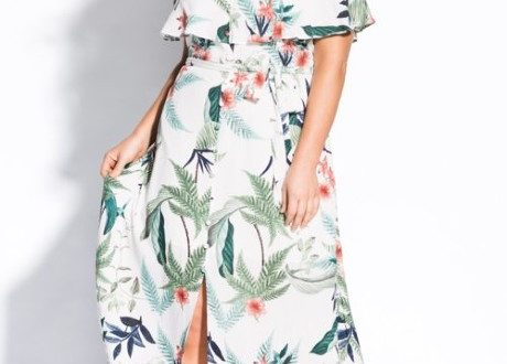 Plus Size Printed Resort Dress