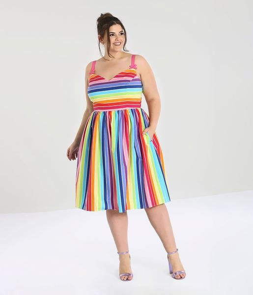 Plus Size Rainbow Swing Dresses