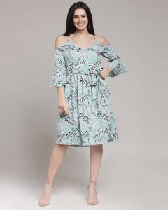 Printed A Line Dress In Plus Size