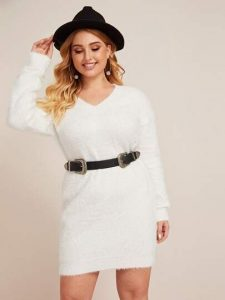 Belted White Sweater Dress