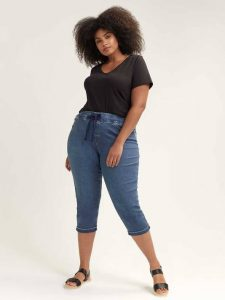 Denim Plus Size Capri Joggers