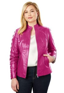 Hot Pink Leather Jacket In XL