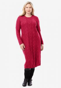 Long Red Knitted Dress
