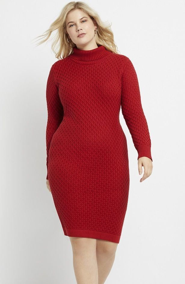 Plus Size Red Sweater Dress
